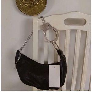 Handbags - Faux Leather Handcuff Chain Strap Handbag